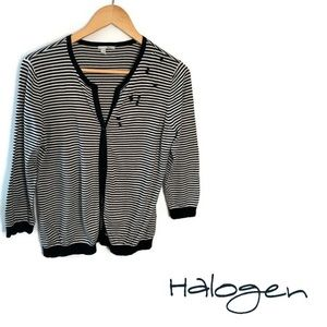 Halogen Stripe Cardigan Sweater.
